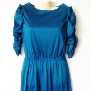 Vtg Teal  Dress Vintage Jr 11 Knee Length Ruched
